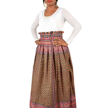 Ankara Maxi Skirt - African Clothes - African Print Paperbag Maxi Skirt - Size Medium and XXLarge