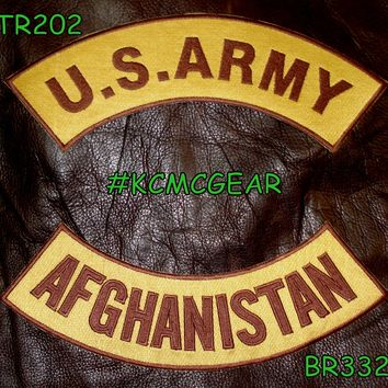 U.S. Army Afghanistan Embroidered Patches Brown on Gold Military Patch Set for Jackets