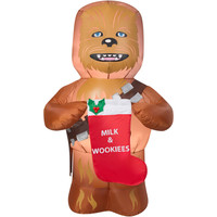 Gemmy Airblown Inflatables Christmas Inflatable Chewbacca with Stocking, 5'