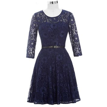 Mother Of The Bride Dresses With Belt Half Sleeve Lace Vintage Dresses Mother Bride For Wedding Navy Blue Short Gown