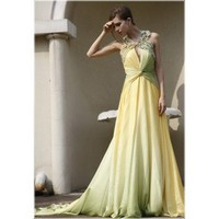 Green  Yellow Halter Open Back Long Evening Dress