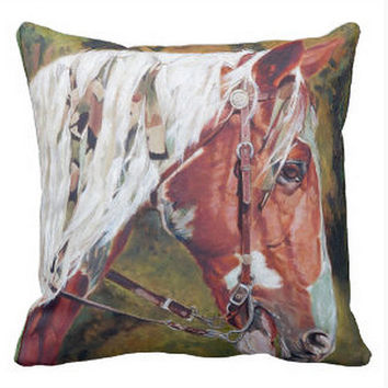 Pillow Cover, Horse Pillow, Green Brown Throw Pillow, Equine Art Pillow, Living Room Decor, Bedroom 16x16 20x20