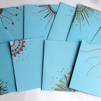 Hand Drawn Greeting Cards in Pastel Blue / Robin's Egg blue - Set of 10 - Envelopes included