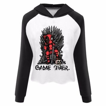 Deadpool Dead pool Taco  vs Game of Thrones Logo Print Women's Harajuku Crop Top Hoodie Custom Print Pullovers Sweatshirt Cropped Hoodie AT_70_6