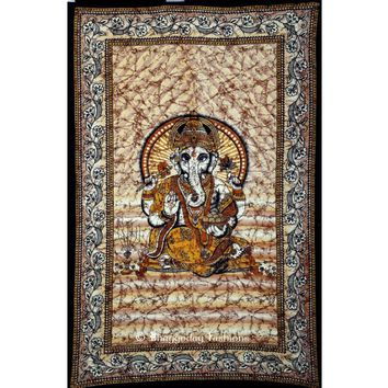 Popular Brown Indian Lord Ganesh Batik Tapestry for Home Décor