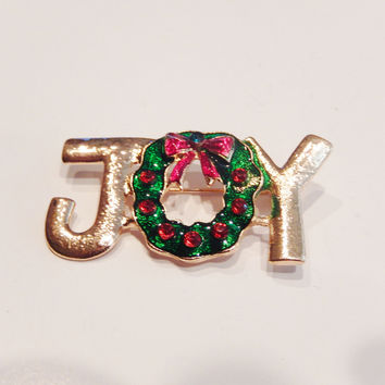 18k Gold Plated Joy Crystals Christmas Pin Brooch