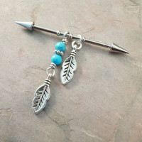 Industrial Barbell With Feathers and Turquoise Upper Double Ear Piercing