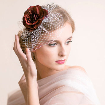 Bridal Fascinator with Red Rose - Bridal Birdcage Fascinator - Bridal Rose Fascinator - Bridal Hair Accessories - Wedding Hair Accessories