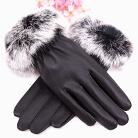 Fashion Winter Warm Touch Screen Leather Gloves