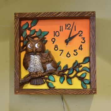 Electric Owl Clock Spartus 1979 Mid Century Kitsch Retro Mom Baby Owls on Branch Works Great USA Made Rare Find