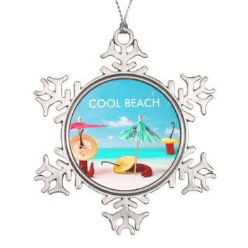 Chili Peppers By The Sea Snowflake Pewter Christmas Ornament