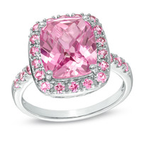 Cushion-Cut Lab-Created Pink Sapphire Ring in Sterling Silver - Size 7