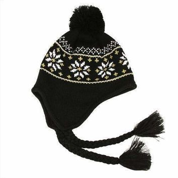 Unisex Black Jacquard Knit Winter Hat with Ear Flaps - One Size