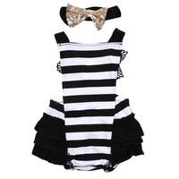 Cute Newborn Baby Girls Clothes Romper Little Princess Tutu Skirted Baby Rompers Jumpsuit Summer Striped Ruffled Costume Sunsuit