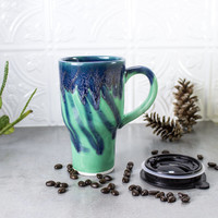 Ceramic Coffee Travel mug with handle, Mint Green Blue, Made to Order with black lid pottery Kitchen gift for him / her