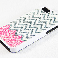 Vibrant Glitter Pink and White Chevron Pattern iPhone 5 + 4S + 4 + 5C + 5S Tough Rubber and Soft Case, iPod 5 + 4 Case