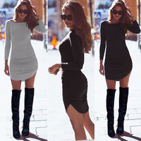 Long Sleeve Mini Bodycon Tunic Slim Party Sexy Clubwear Side Split Tshirt Bandage Dresses