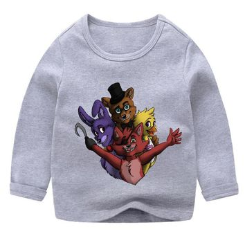 2018 Fashion Kids Five Night At Freddy 09 Cartoon Design o neck T Shirt Boys/Girls Children's Summer Cute long sleeve T-Shirt