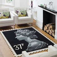 Rockett St George 37p Stamp Rug ? Black at Coggles.com online store