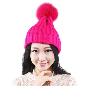Female Winter Hat Real Fox Fur PomPoms ball Women's Winter Hats Knitted Pattern Beanies ladies Cap Thick Snowboard skullies
