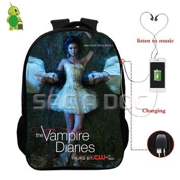 University College Backpack The Vampire Diaries Damon Stefan  Multifunction USB Charge Headphone Jack Bags  Students School Travel BagsAT_63_4