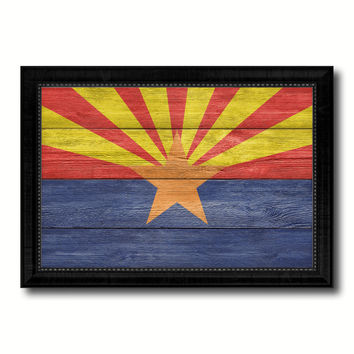 Arizona State Flag Texture Canvas Print with Black Picture Frame Home Decor Man Cave Wall Art Collectible Decoration Artwork Gifts
