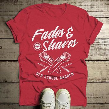 Men's Barber T-Shirt Fades & Shaves Vintage Tee Razor Shirt For Hipster Barbers