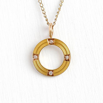 Antique Circle Pendant - 14k Yellow Gold & Diamond Necklace - Vintage 1900s Art Nouveau Edwardian Fine Dainty Eternity Jewelry Conversion