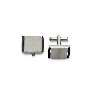 Men's Stainless Steel Black Acrylic Cuff Links - Engravable Gift Item