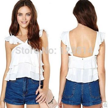 Fashion Casual Spring Summer New Sexy Women White Chiffon Sleeveless Ruffles Loose Backless Spaghetti Straps Blouse Top D397