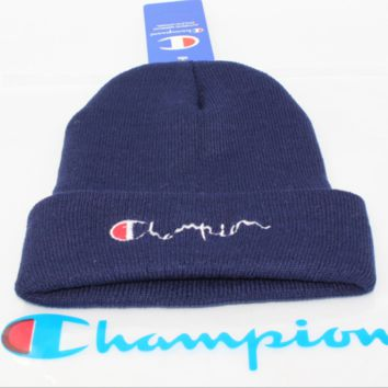 Champion male and female alphabet embroidery knit couple student woolen cap Blue