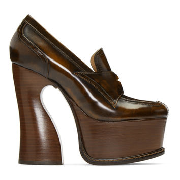 Brown Leather Loafer Heels