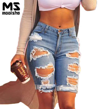 Mooishe Summer Plus Size Women Jeans Shorts Knee Length Hole Ripped High Waist Blue Women Denim Pant Jeans