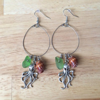 Octopus Hawaiian Shell Sea Glass Hoop Earrings