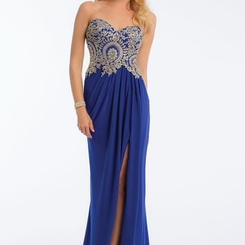 Metallic Motif Drape Side Dress from Camille La Vie and Group USA