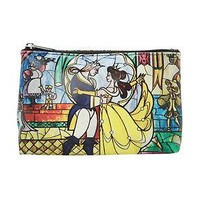 Licensed cool Disney Beauty & the Beast Belle Cosmetic Bag Stained Glass Window dancing  NWT