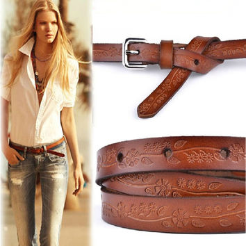 Fashion Carved Strap Fine Embossed For Women's Thin Cowhide Belt , 98cm*1.2cm Girl's Casual Jeans Cowskin Belts