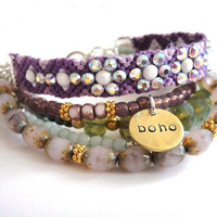 Bohemian hippie bracelet encrusted friendship by OOAKjewelz