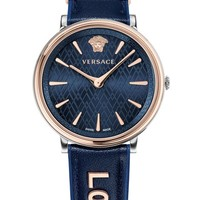 Versace Manifesto Leather Strap Watch, 38mm | Nordstrom