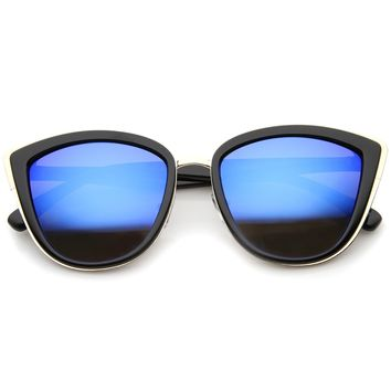 High Fashion Metal Outer Frame Color Mirror Lens Oversized Cat Eye Sunglasses 55mm
