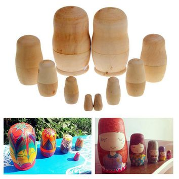 Funny Dolls Wooden Nesting Hand Unpainted Toy