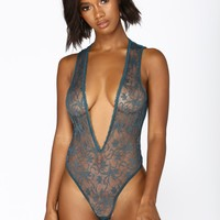 Glamour Girl Deep V Teddy - Green