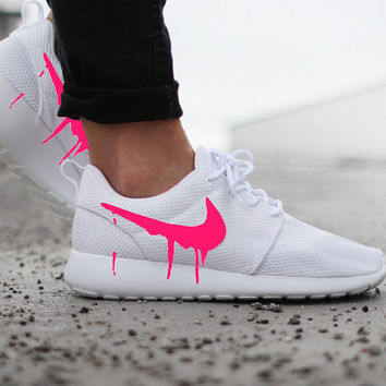 Nike Roshe Run One White with Custom Pink Candy Drip Swoosh Paint 14f909e6e19a