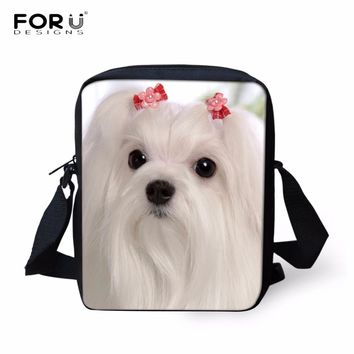 FORUDESIGNS Luxury Women Handbags Cross Body Bags Animal 3D Maltese Dog Pattern Women's Casual Shoulder Bags Female Messenger