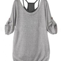 Grey Charming Plaited Medium Sleeve Blouse