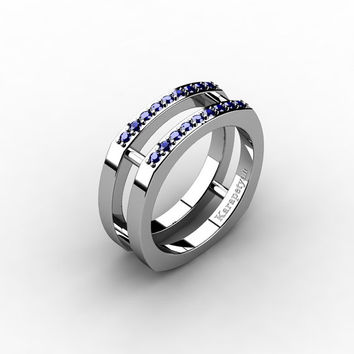 Mens Modern 14K White Gold Blue Sapphire Cluster Wedding Ring G10042-14KWGBS
