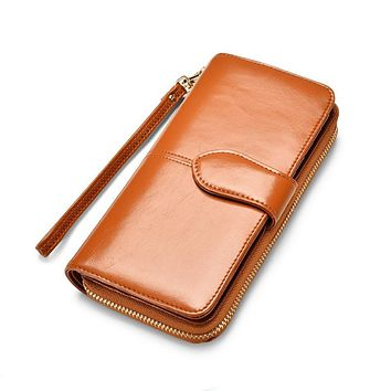Vintage Brand Designer Wallet Ladies Long Leather Zippers Purse High Capacity Women Buckle Wallet Female High Quality Wallet