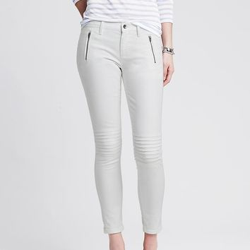Banana Republic Womens White Skinny Ankle Moto Jean