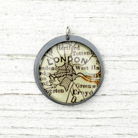 London, England - Antique Map Pendant