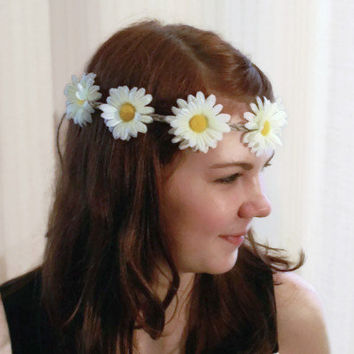 Daisy Crown Daisy Headband White Daisy Chain Flower Hair Wreath Bohemian Hippie Headband Flower Child Summer Fashion